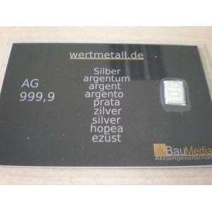 1 Gramm Silberbarren pures Silber 99,9% Barren 1g Anlagesilber mit Zertifikat